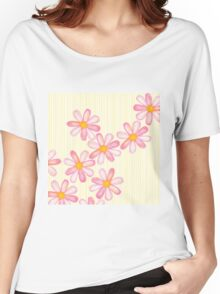 Girly Pink Watercolor Flowers Yellow White Stripes Women's Relaxed Fit T-Shirt