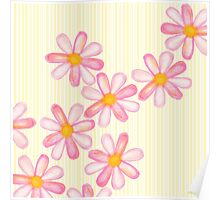 Girly Pink Watercolor Flowers Yellow White Stripes Poster