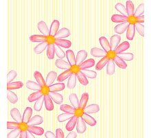 Girly Pink Watercolor Flowers Yellow White Stripes Photographic Print