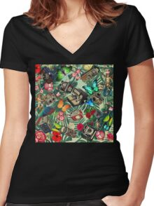tropical vintage  Women's Fitted V-Neck T-Shirt