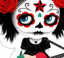 Sugar Skull Girl Playing Mexican Flag Guitar Sticker