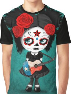Sugar Skull Girl Playing Texas Flag Guitar Graphic T-Shirt