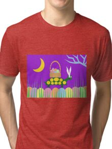 Turtle Bunny - Green Turtle Helps a Friend Tri-blend T-Shirt