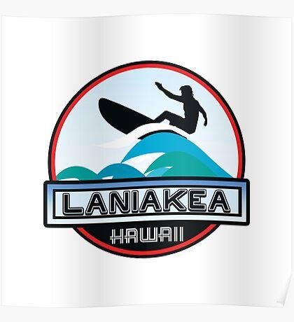Surfing LANIAKEA OAHU HAWAII Surf Surfer Surfboard Waves Ocean Beach Vacation Stickers Poster