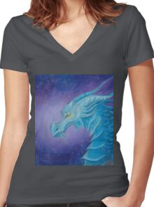 The Cool Blue Dragon Women's Fitted V-Neck T-Shirt