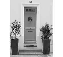 Door framed with green plants Photographic Print