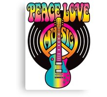 Vinyl Peace-Love-Music Canvas Print