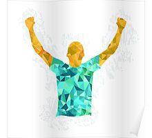 Happy Soccer Player Illustration Poster