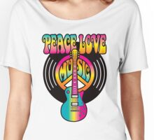 Vinyl Peace-Love-Music Women's Relaxed Fit T-Shirt