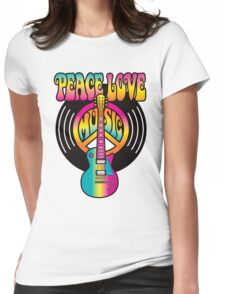 Vinyl Peace-Love-Music Womens Fitted T-Shirt