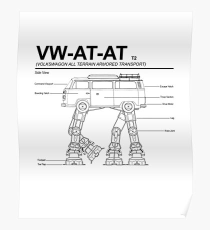 VW Westfalia AT-AT T2 Blueprint Poster