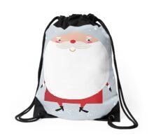 Santa with beard, cute greeting for Xmas holiday Drawstring Bag