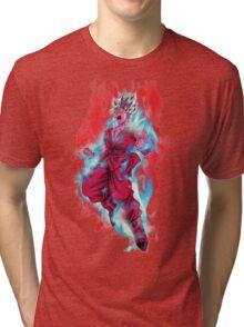 Goku God Blue Kaioken x10 Tri-blend T-Shirt