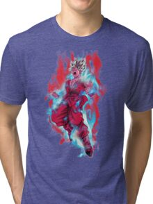 Goku God Blue Kaioken x10 Tri-blend T-Shirt