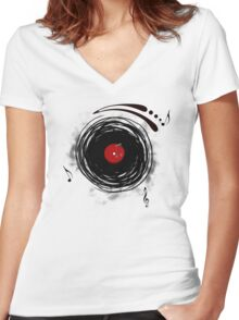 Vinyl Records Retro Grunge Women's Fitted V-Neck T-Shirt