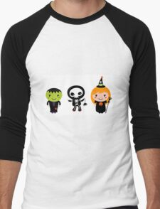 Happy Kids in Halloween Costumes Men's Baseball ¾ T-Shirt
