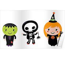 Happy Kids in Halloween Costumes Poster