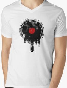 Melting Vinyl Records Vintage Mens V-Neck T-Shirt