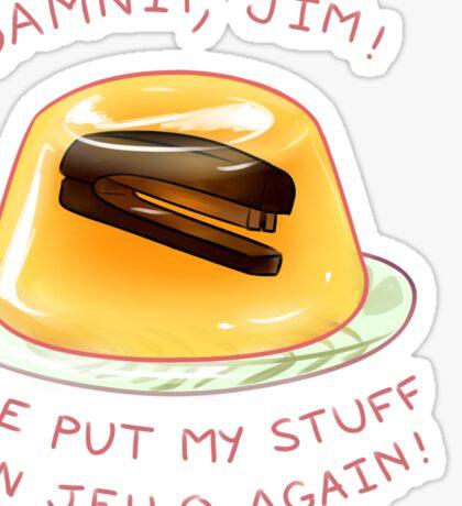stapler in jello Sticker