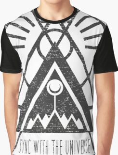 Sync with the Universe - Typography and Geometry Graphic T-Shirt