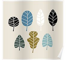 Autumn leaves silhouettes Vector Illustration Poster