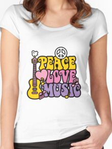 Peace, Love, Music Women's Fitted Scoop T-Shirt