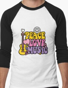 Peace, Love, Music Men's Baseball ¾ T-Shirt