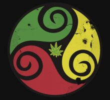 Reggae Love Vibes - Cannabis Reggae Flag by Denis Marsili