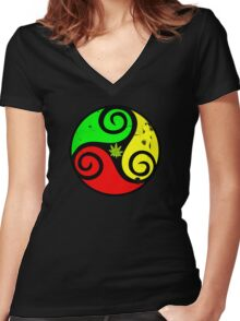 Reggae Love Vibes - Cool Weed Pot Reggae Rasta - Pouch T-Shirts and more Women's Fitted V-Neck T-Shirt