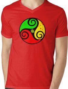 Reggae Love Vibes - Cannabis Reggae Flag Mens V-Neck T-Shirt