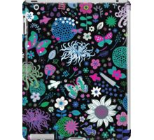 Japanese Garden - Pink, green, blue and white on Black iPad Case/Skin