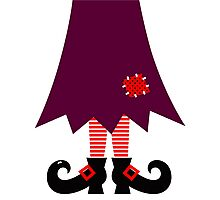 Cartoon Witch legs Vector Illustration Photographic Print