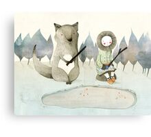 The Little Inuit Girl And The Wolf Metal Print