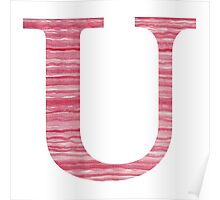 Letter U Red Watercolor Stripes Initial Monogram Poster