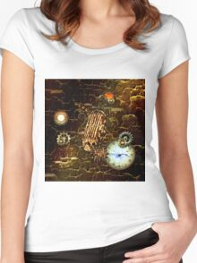 Steampunk, microphone with gears  Women's Fitted Scoop T-Shirt