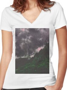 Misty Mountains Women's Fitted V-Neck T-Shirt