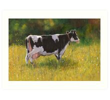 Holstein Dairy Cow in Oil Pastel Art Print