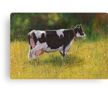 Holstein Dairy Cow in Oil Pastel Canvas Print