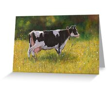 Holstein Dairy Cow in Oil Pastel Greeting Card
