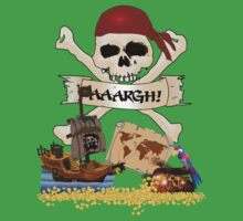 Pirate Icons - Jolly Roger, Treasure Chest, Pirate Ship Kids Tee
