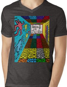 3D Wall - HARING Mens V-Neck T-Shirt