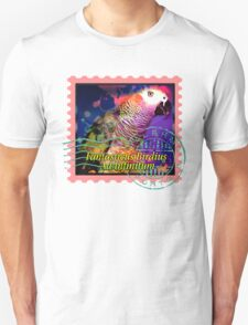 AFRICAN GREY PSYCHEDELIC POSTAGE STAMP T-Shirt