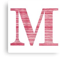 Letter M Red Watercolor Stripes Initial Monogram Canvas Print