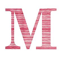 Letter M Red Watercolor Stripes Initial Monogram Photographic Print