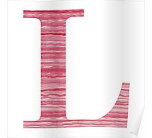 Letter L Red Watercolor Stripes Initial Monogram Poster