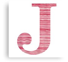 Letter J Red Watercolor Stripes Initial Monogram Canvas Print