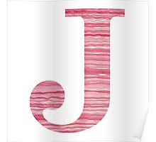 Letter J Red Watercolor Stripes Initial Monogram Poster