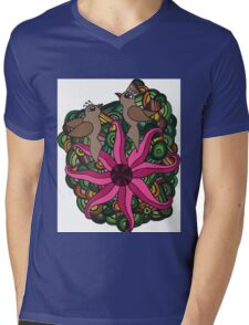 Two birds with exotic flower Mens V-Neck T-Shirt