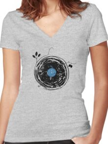 Enchanting Vinyl Record Grunge Vintage Women's Fitted V-Neck T-Shirt