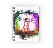 Colorful Grunge Vitruvian Man - Leonardo Da Vinci Tribute Art T Shirt - Stickers Spiral Notebook